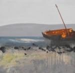 By Night She Sails Over Stone Walls, Tearmainn Beag Iata, Áras Éanna, Inis Oirr, oil on canvas, 2008