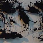 I Skogen om Natten II, Migrant, Detroit Stockholm, shadow puppet in paper, 2014