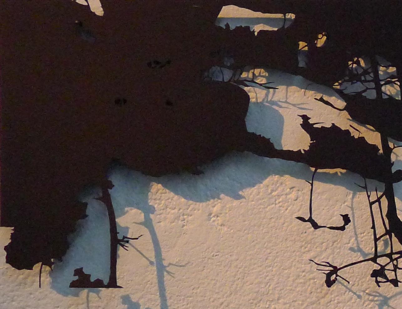 I Skogen om Natten I, Migrant, Detroit Stockholm, shadow puppet in paper, 2014