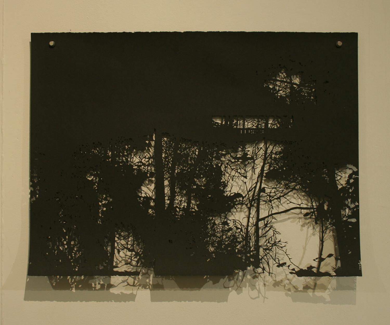 Krusboda, shadow work on paper, Förort, Tyresö Konshall, 2014